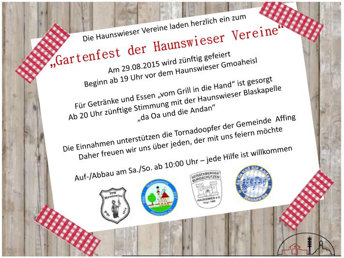 Einladung Gartenfest der Haunswieser Ortsvereine
