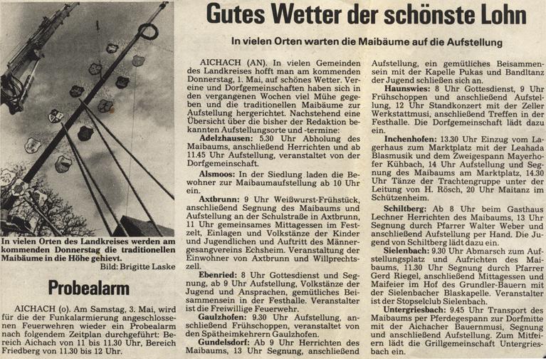 Quelle: Aichacher Nachrichten vom 30.04.1986