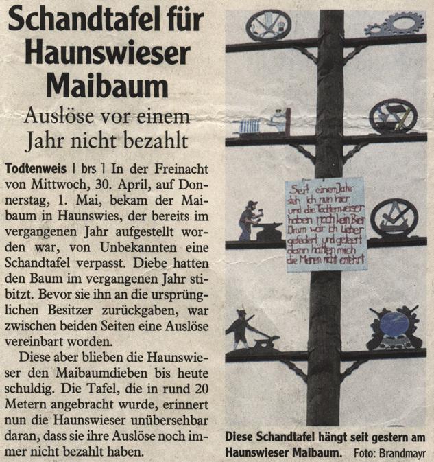 Schandtafel für Haunswieser Maibaum